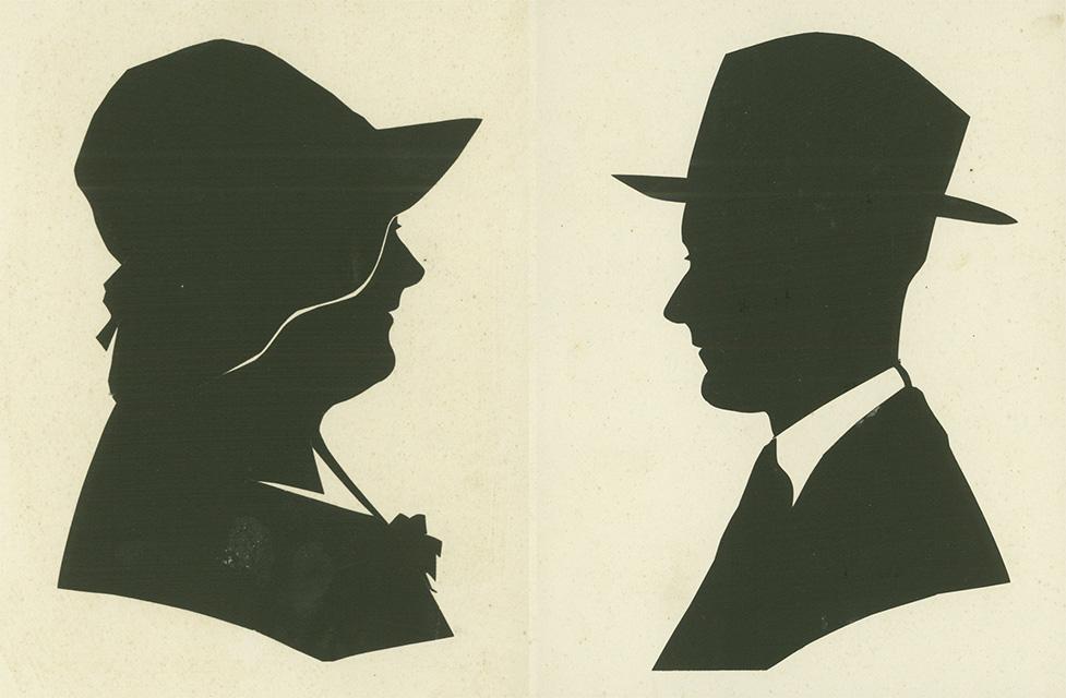 silhouettekening Marie van Gastel en Berten Pil